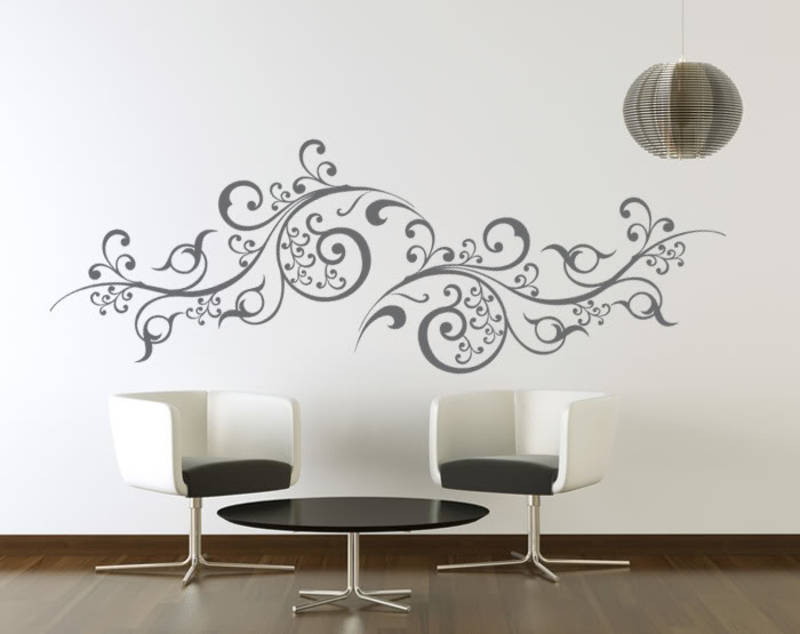 buy large scroll vines wall decal modern graphic online. Black Bedroom Furniture Sets. Home Design Ideas