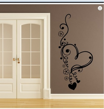 Large Flowers and Heart Wall Decal Modern Graphic