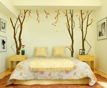 Large Budding Birch Trees Wall Decal Nature