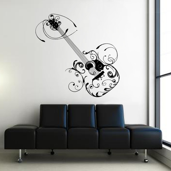 Large Arty Guitar Wall Decal Modern Graphic