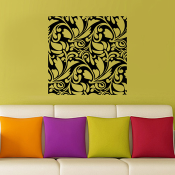 Large Square Floral Abstract Wall Decal Nature