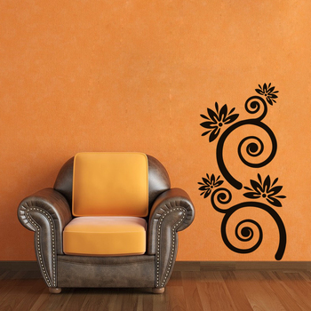 Large Flowers with Spiral Stems Wall Decal Nature