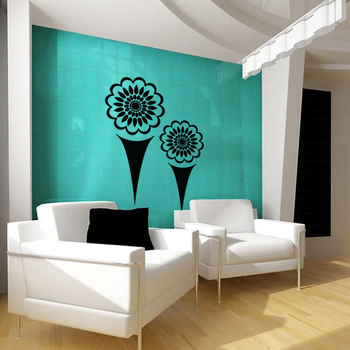 Large Flowers And Cones Wall Decal Nature