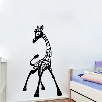 Small Giraffe wall Decal for Kids Room Birds and Animal