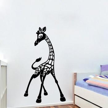 Medium Giraffe wall Decal for Kids Room Birds and Animal