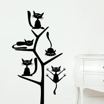 Small Cats on the Tree Wall Decal Birds and Animal