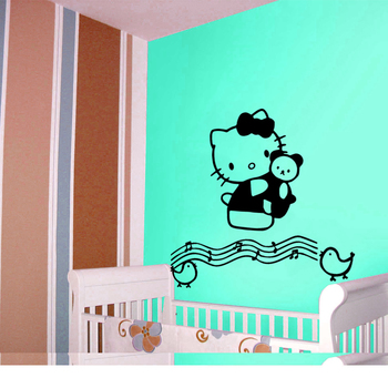 Large Hello Kitty Musical Notes Wall Decal Kids Decal
