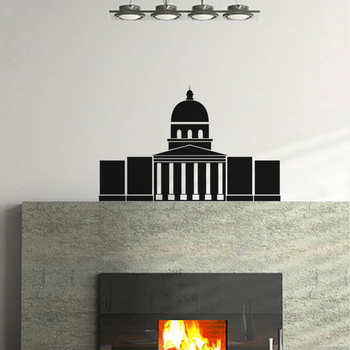 Small White House Wall Decal Modern Graphic