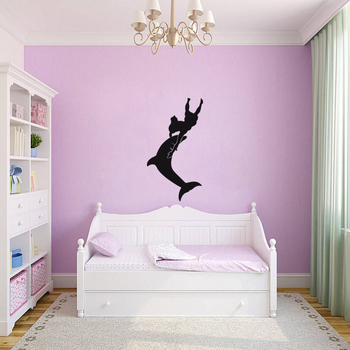 Large Dolphin Dance Wall Decal Birds and Animal