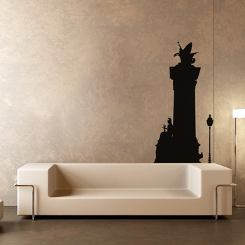 Large Warrior Princess And Flying Horse Wall Decal Modern Graphic