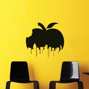 Small Apple City Wall Decal Modern Graphic