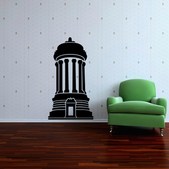 Small Cylindrical Architecture Wall Decal Modern Graphic
