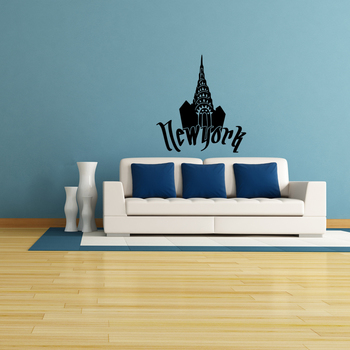 Small Chrysler New York Wall Decal Modern Graphic