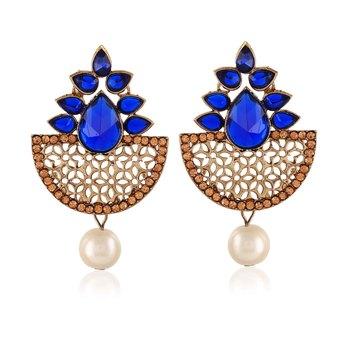 Exclusive Designer Blue Kundan Gold Finishing Dangle Earrings
