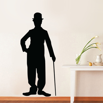 Small Charlie Chaplin Silhouette Wall Decal Modern Graphic