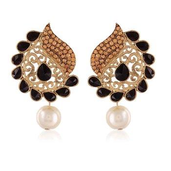 Exclusive Designer Black Kundan Gold Finishing Dangle Earrings
