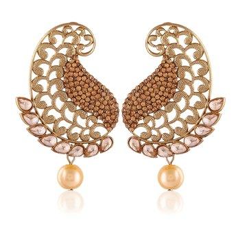 Exclusive Designer Golden Stone Gold Finishing Dangle Earrings