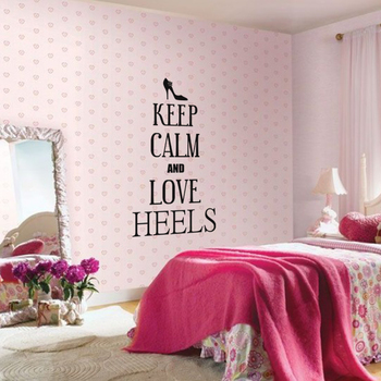 Medium Keep Calm And Love Heels Wall Decal Quotes