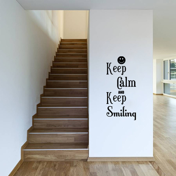 Small Keep Calm And Keep Smiling Wall Decal Quotes