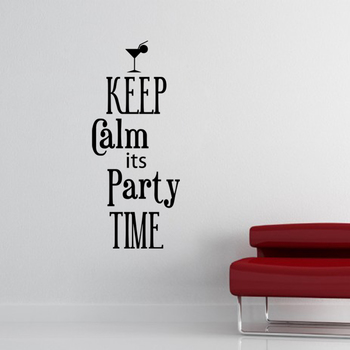 Medium Keep Calm Its Party Time Wall Decal Quotes