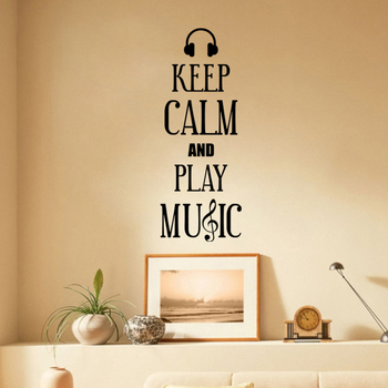 Small Keep Calm And Play Music Wall Decal Quotes