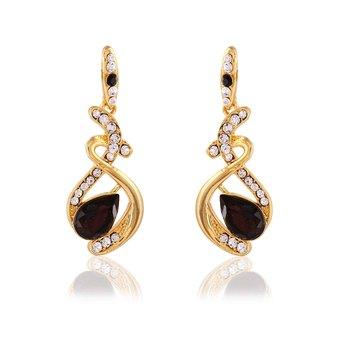 Gold Finishing Design With Austrian Stone Work Fancy Dangle Earrings