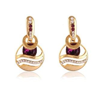 Exclusive Designer Gold Finishing Austrian Stone In Purple Party Wear Dangle Earrings