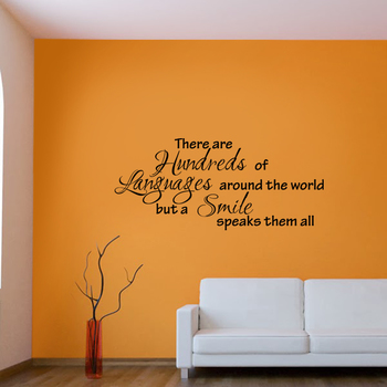 Large Smile is The Best Language Wall Decal Quotes