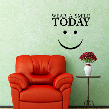 Small Wear a Smile Today Wall Decal Quotes