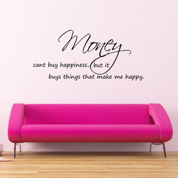 Large Money Can't Buy Happiness Wall Decal Quotes