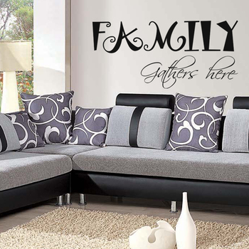 Large Family Gathers Here Wall Decal Quotes