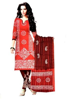 Red  Cotton Unstitched Salwar With Dupatta