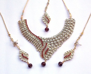 indian vintage royal kundan and red stone stud necklace set