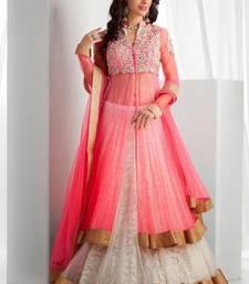 Buy Pink embroidered georgette unstitched lehenga choli lehenga-below-1000 online