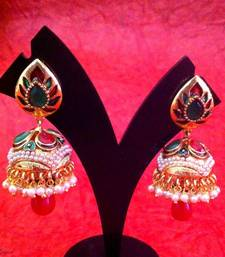 Buy Majestic Ethnic Red Green Stones Meenakari Pearl Jhumka by ADIVA v329 gifts-for-wife online