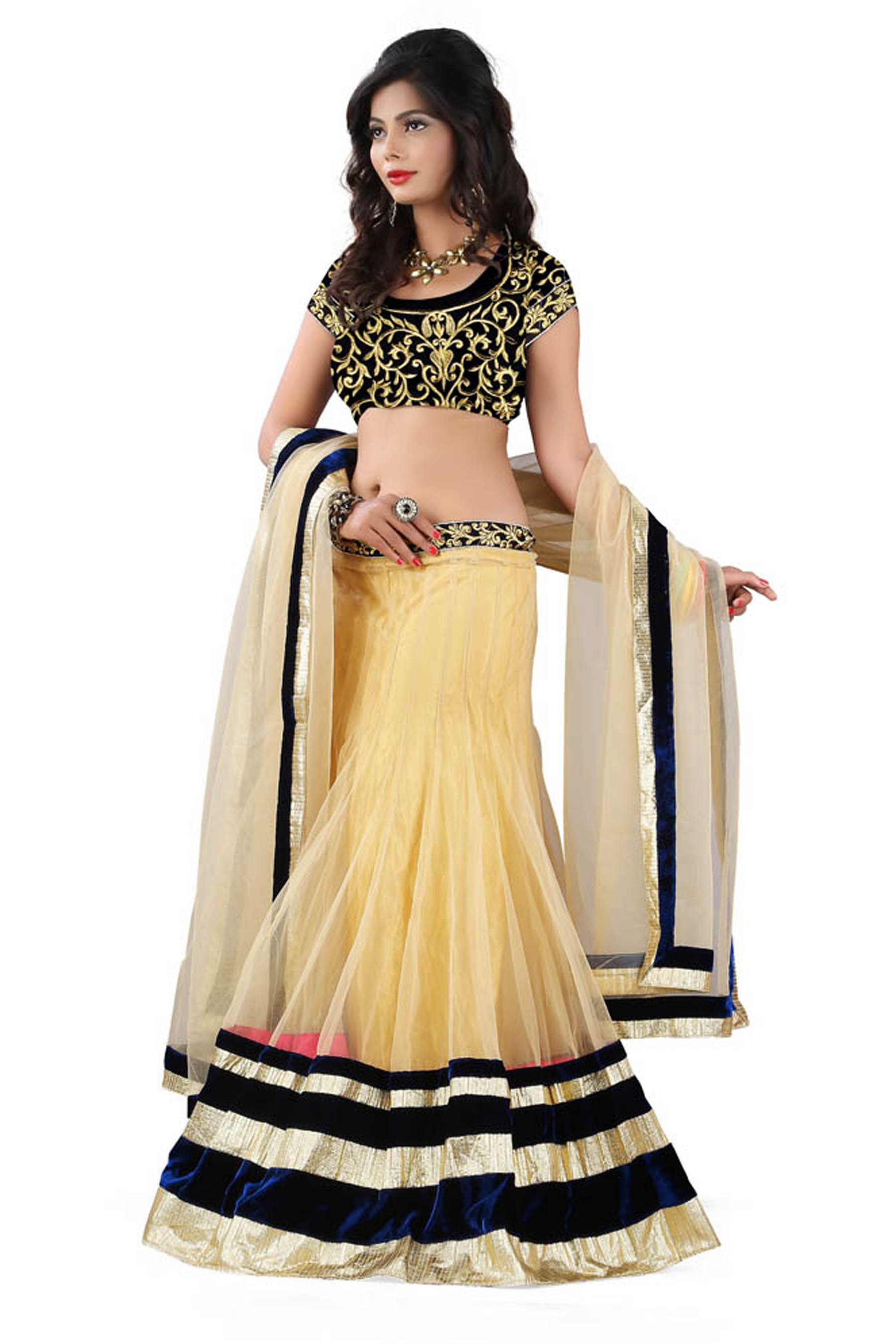 70967a7451819a Cream and black embridered net unstitched lehenga choli - Greenvilla designs  - 1034402