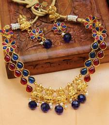 Buy Gold plated blue and pink kempu necklace set south-indian-jewellery online