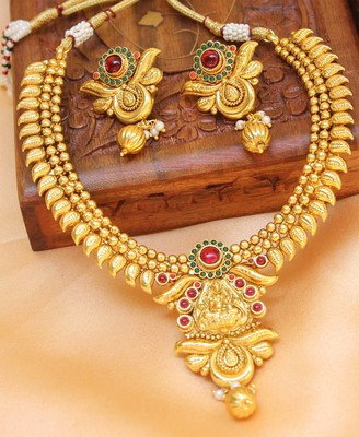 Gorgeous Gold Plated Temple  Mango Necklace With Earrings