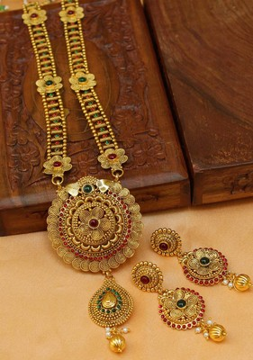 Gorgeous Gold Plated  Kempu  Necklace Set