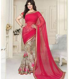 e1c8f181bee Buy Red printed georgette saree with blouse georgette-saree online