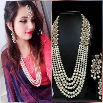 Classic pearl necklace studded with american diamonds