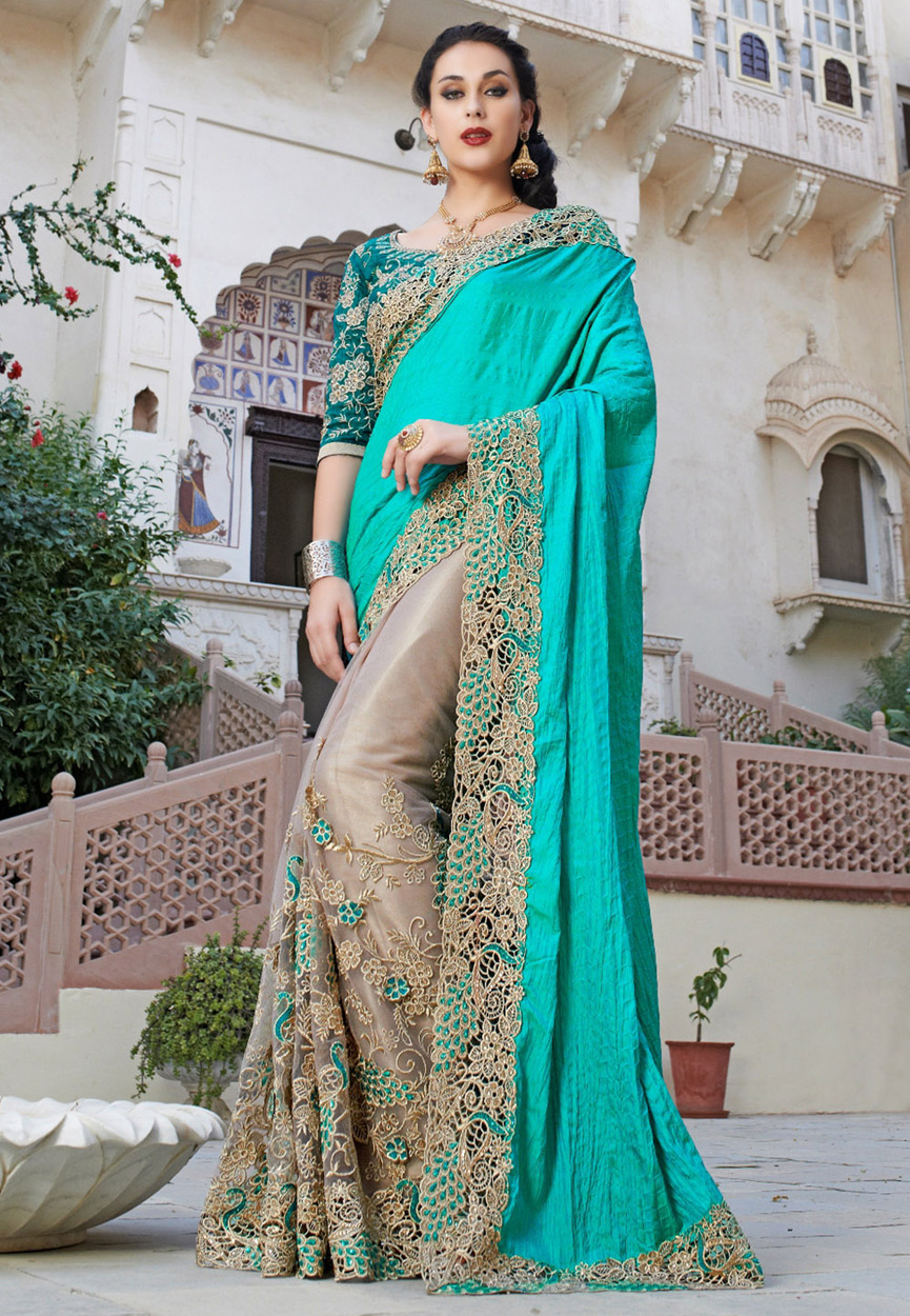 ae4cf53b01 Sea Green and Beige embroidred fancy chiffon saree with blouse - Fashion  Carnival - 1036816