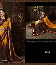Buy coffee embroidered satin saree with blouse satin-saree online