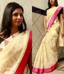 Buy Cream Banaras banarasi-silk-saree online
