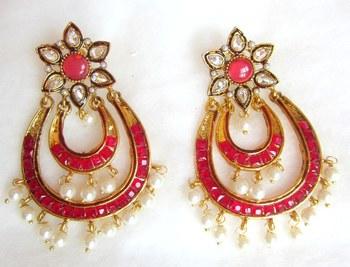 Earrings Pink Gold Plated Dangler Pearl Drops