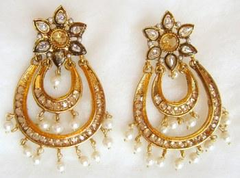 Earrings Brown Gold Plated Dangler Pearl Drops