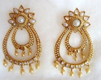 Earrings White Gold Pearl Dangler
