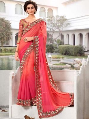 Pink Georgette Mirror Work saree with blouse Piece