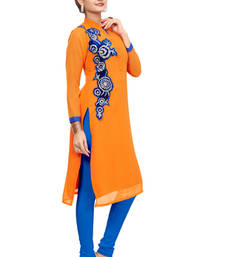 Buy Orange embroidered Georgette  fancy kurtis for beatifull lady plus-size-kurti online
