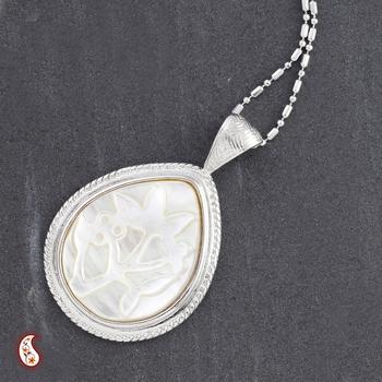 Tear drop embossed Shell Pendant